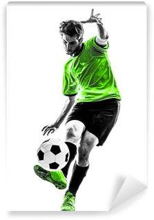 Fototapeta Winylowa Piłka nożna piłkarz młody człowiek kopanie sylwetka