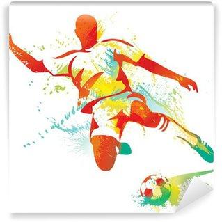 Fototapeta Winylowa Piłkarz kopie piłkę. ilustracji wektorowych.