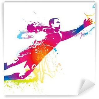 Fototapeta Winylowa Piłkarz łapie piłkę