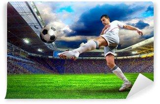Fototapeta Winylowa Piłkarz na polu stadionu