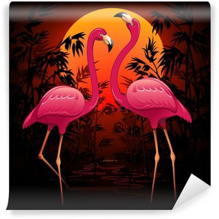 Vinylová Fototapeta Pink Flamingos Tropické slunce na slunce, Pink Flamingos