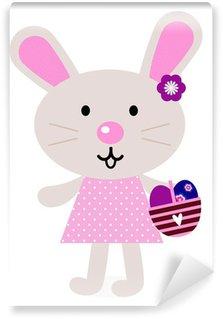 Vinylová Fototapeta Pink velikonoční zajíček s vejci izolovaných na bílém