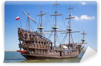 Vinylová Fototapeta Pirátská galeona loď na vodě Baltského moře v Gdyni, Polsko