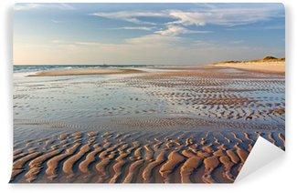 Vinylová Fototapeta Písek byty s zvlnění známek ve večerním světle na západní pláži Sylt