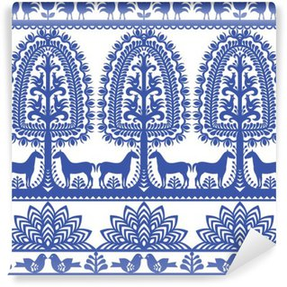 Fototapeta Pixerstick Bezešvé květinovým Polská lidová tvorba vzor Wycinanki Kurpiowskie - Kurpie Papercuts