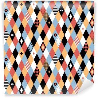 Fototapeta Pixerstick Bezproblemowa geometryczny wzór w stylu płaskiej kolorowe romby. Przydatne do owijania, tapety i tekstyliów.