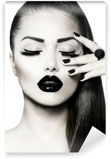 Fototapeta Pixerstick Black and White Brunette Girl Portrait. Trendy Caviar Manikúra