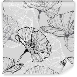 Fototapeta Pixerstick Monochromatický bezproblémové vzorek s máky. Ručně tažené květinové pozadí