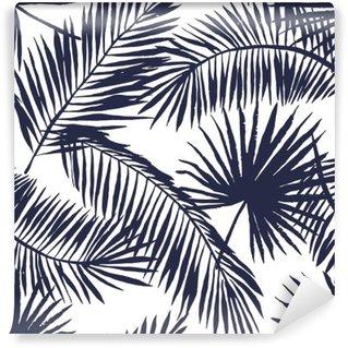 Fototapeta Pixerstick Palmového listí silueta na bílém pozadí. Vektorové bezproblémové vzorek s tropickými rostlinami.