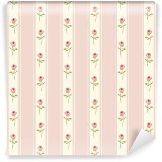 Fototapeta Pixerstick Roztomilý bezešvé Shabby Chic vzor s růžemi a puntíky ideální pro kuchyňskou textilií nebo ložního prádla textilie, záclony nebo vnitřní tapety design, může být použit pro scrapbooking papír atd