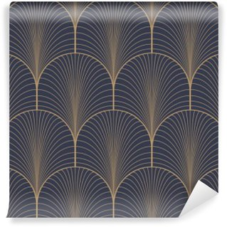 Fototapeta Pixerstick Vintage tan modrá a hnědá bezproblémové art deco tapeta vzor vektor