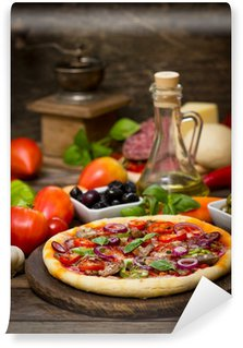 Vinylová Fototapeta Pizza se šunkou, žampiony a sýrem