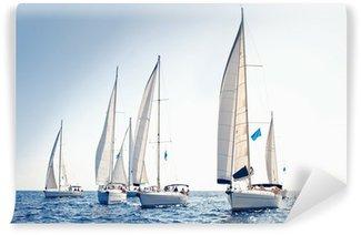 Vinylová Fototapeta Plachetnice Jachty s bílými plachtami