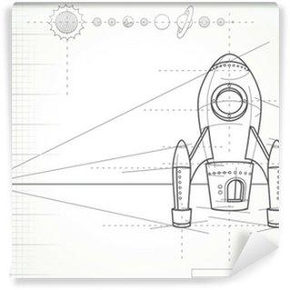 Vinylová Fototapeta Plán se systémem vesmírné lodi a planet