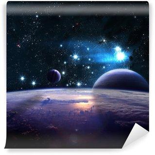 Vinylová Fototapeta Planety nad mlhoviny ve vesmíru