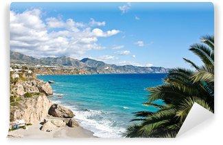 Vinylová Fototapeta Pláž Nerja a město - Španělsko