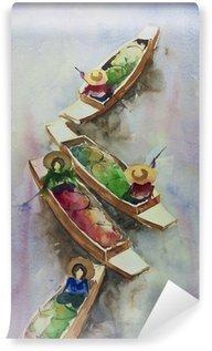 Fototapeta Winylowa Pływający targ przez akwarele