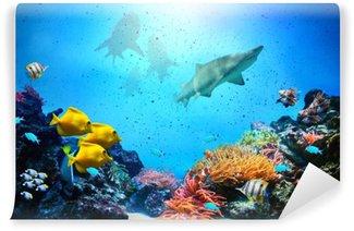 Vinylová Fototapeta Podvodní scény. Korálový útes, ryba skupiny, žraloci
