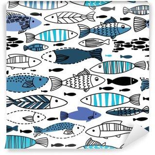 Fototapeta Winylowa Podwodny szwu z rybami. Jednolite wzór może być stosowany do tapety, tła strony internetowej