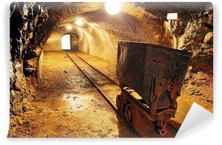 Vinylová Fototapeta Podzemní vlak v dole, vozíků ve zlatě, stříbře a mědi dolu