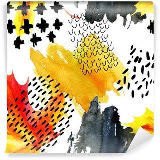 Vinylová Fototapeta Podzim akvarel javorový list a doodle bezešvé vzor