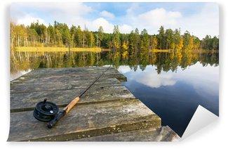 Vinylová Fototapeta Podzim muškaření v jezeře