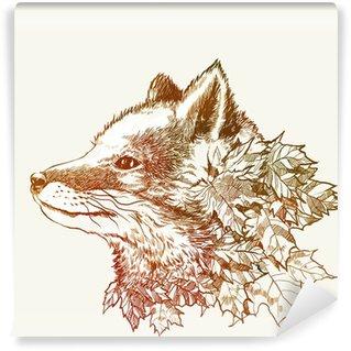 Vinylová Fototapeta Podzimní liška