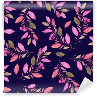 Vinylová Fototapeta Podzimní listí akvarel bezešvé vzor