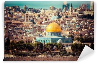 Vinylová Fototapeta Pohled na Jeruzalém, The Dome of the Rock, hoře Olivetské, Izrael