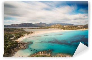 Vinylová Fototapeta Pohled na krásné zátoky s azurovým mořem od vrcholu kopce, Villasimius, ostrov Sardinie, Itálie, s dlouhou expozicí pohybovat mraky a hedvábí, protože moře