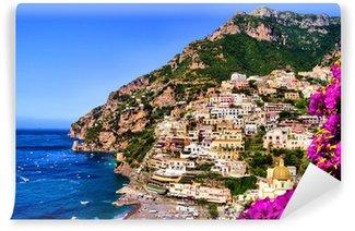 Vinylová Fototapeta Pohled na město Positano s květinami, Pobřeží Amalfi, Itálie