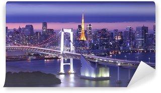 Vinylová Fototapeta Pohled na Tokijském zálivu, Duhový most a Tokyo Tower mezník