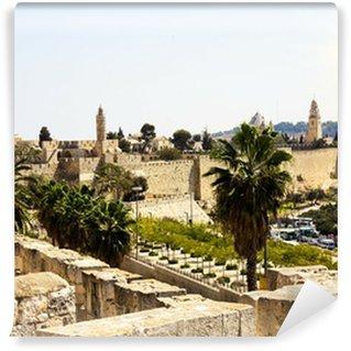 Vinylová Fototapeta Pohled ze zdí starého Jeruzaléma, Izrael