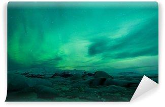 Vinylová Fototapeta Polární záře nad lagunou na Islandu