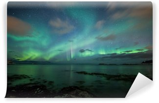 Vinylová Fototapeta Polární záře nad pláži v Norsku