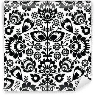 Vinylová Fototapeta Polská lidová bezešvé vzor v černé a bílé