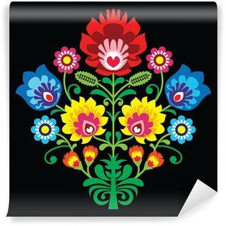 Vinylová Fototapeta Polská lidová výšivka s květinami - tradiční vzor