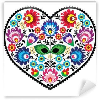 Vinylová Fototapeta Polská lidová výtvarné art srdce s květinami - wzory lowickie