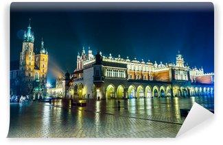 Vinylová Fototapeta Polsko, Krakov. Market Square v noci.
