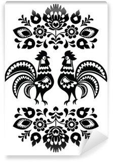 Vinylová Fototapeta Polský etnické květinové výšivky s kohouti v černé a bílé