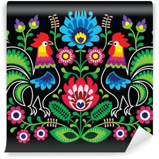 Vinylová Fototapeta Polský květinová výšivka s kohouty - tradiční lidová vzor