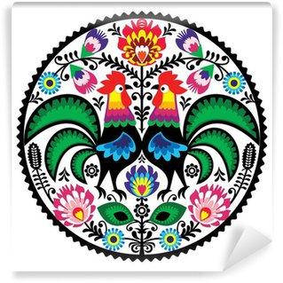 Vinylová Fototapeta Polský květinová výšivka s Roosters lidové vzorem