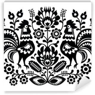 Vinylová Fototapeta Polský květinová výšivka s Roosters vzorem