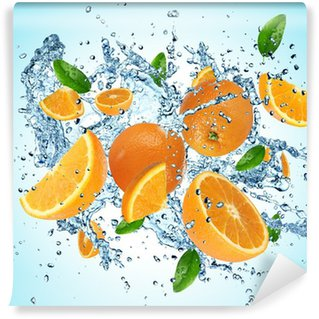 Vinylová Fototapeta Pomeranče výbuchu vody