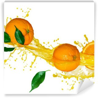 Vinylová Fototapeta Pomerančová šťáva izolovaných na bílém