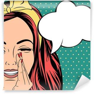 Vinylová Fototapeta Pop Art ilustrace dívka s bublinou