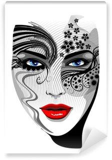 Fototapeta Vinylowa Portret dziewczyny maskę na twarz tatuaż tatuaż wektor dziewczyny