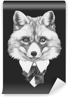 Vinylová Fototapeta Portrét Fox v obleku. Ručně tažené ilustrace.