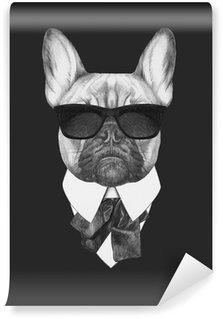 Vinylová Fototapeta Portrét francouzský buldoček v obleku. Ručně tažené ilustrace.