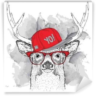 Fototapeta Vinylowa Portret jelenia z okulary, słuchawki i hip-hop w kapeluszu. ilustracji wektorowych.